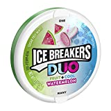 ICE BREAKERS DUO Fruit + Cool Mints, Watermelon Flavor, Sugar Free, 1.3 Ounce Container (Count of 8)