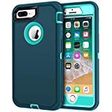 iPhone 8 Plus Case, iPhone 7 Plus Case, LOEV Heavy Duty Shockproof Case Anti-Scratch 3 Layer Protective Cover Hard PC Shell Soft TPU Bumper Defender Case for Apple iPhone 7/8 Plus 5.5' - Dark Green