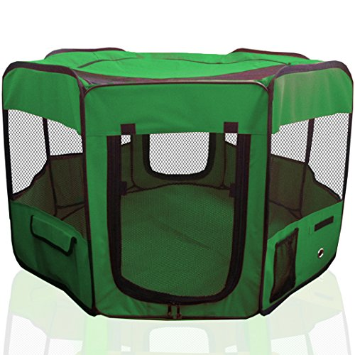 "ToysOpoly 45"" Indoor/Outdoor Pet Playpen Cage. Best Exercise Kennel for Your Dog, Cat, Rabbit, Puppy, Hamster or Guinea Pig. Portable Pen for Easy Travel (Green)"