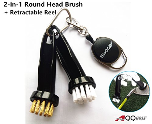 (A99 Golf 2-in-1 Round Head Brush + Retractable Reel)