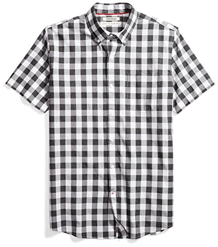 - Goodthreads Men's Standard-Fit Short-Sleeve Gingham Plaid Poplin Shirt, White/Grey, Medium