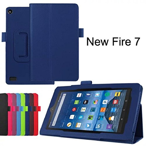 (Amazon Kindle Fire HD 7 2015 Tablet Case - Ikevan PU Leather Magnetic Case Super Protection Cover Ultra Lightweight Slim-shell Stand Fold Cover (Dark Blue))