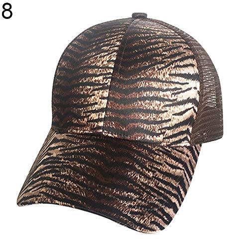 (LBgrandspec Leopard Snakeskin Tiger Stripe Print Women Ponytail Holder Mesh Baseball Cap Hat Sun Protection Sunscreen Windproof 8#)