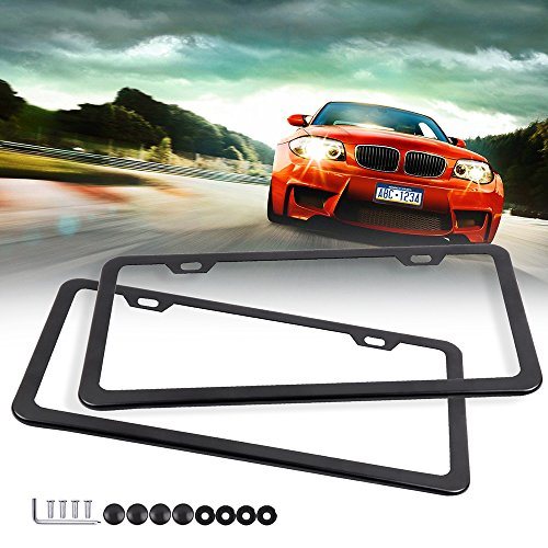 - ECCPP License Plate Frame Universal License Plate Covers Protect Plates with Screws for US Vehicles (2Pcs 2 Holes Black)