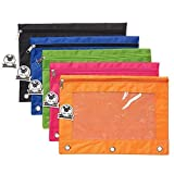 Zippered Binder Pencil Pouch with Rivet Enforced Hole 3 Ring Pencil Case