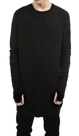 LILBETTER Mens Thumb Hole Cuffs Long Sleeve T-Shirt Basic Tee (S Black) 41e246c8c