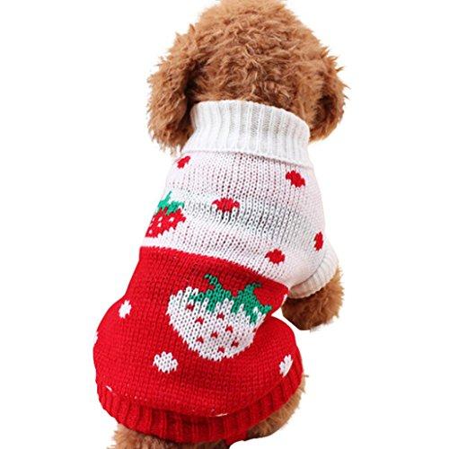 Howstar Puppy Winter Sweater, Woolen High Collar Warm Doggie Clothing Apparels Sweet Knitted Pet Top (Hot Pink, XXS)