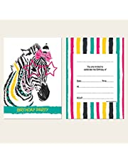 Kids Birthday Invitations - Cool Zebra - Pack of 10