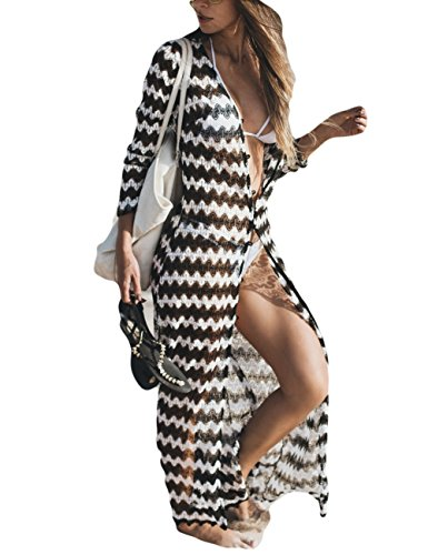 - Bsubseach Women Black White Wave Striped Lace V Neck Long Sleeve Bathing Suit Cover Up Beach Kimono Cardigan