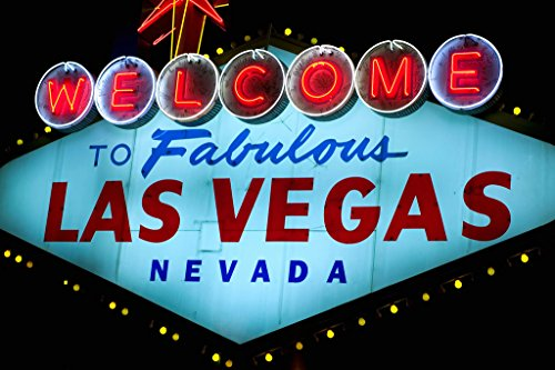 Welcome to Fabulous Las Vegas Iconic Sign Photo Art Print Poster 18x12 inch