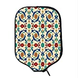 YOLIYANA Moroccan Durable Racket Cover,Nostalgic Eastern Art Motifs with Floral Ornaments with Baroque Inspiration Ethnic for Sandbeach,One Size