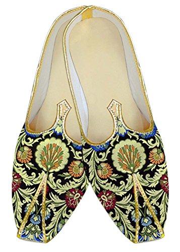 INMONARCH Mens Black Kheenkhap Wedding Shoes Indian MJ18416 Black 7DCvS