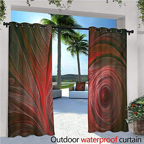 Fractal Outdoor Privacy Curtain for Pergola Spiral Curved Leaf Veins Pattern with Futuristic Swirling Influences Artsy Image Thermal Insulated Water Repellent Drape for Balcony W96