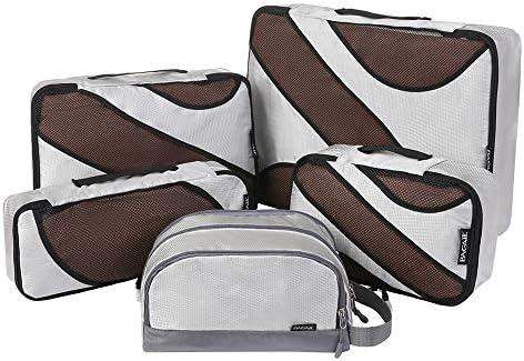 トラベルポーチ トラベルバッグ用パッキングキューブ5セット - 荷物オーガナイザー (Color : Gray)