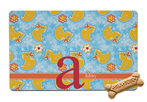 YouCustomizeIt Rubber Duckies & Flowers Pet Bowl Mat (Personalized)