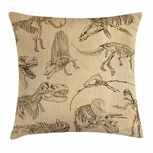 Lunarable Dinosaur Throw Pillow Cushion Cover, Hand Drawn Style Skeletons Bones from Medieval Times Archeology Theme, Decorative Accent Pillow Case, 36 X 16 inches, Sand Brown Army Green