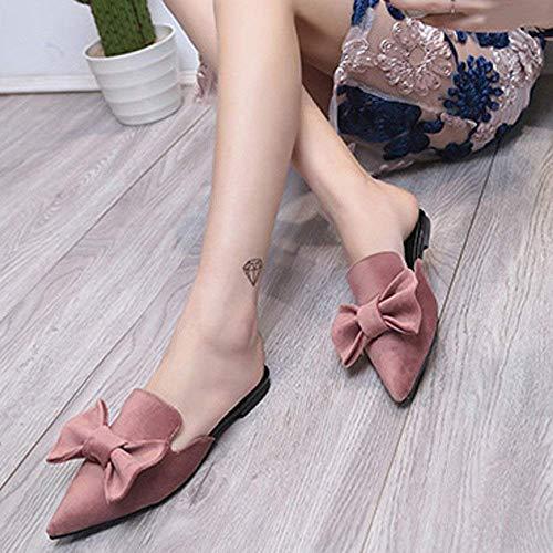 Estrecha Sólido color Rosado 38 Moda Eu Zapatos Rosado Guisantes Zapatillas Planos Tamaño Solteros Botas Sandalias Fuweiencore Punta Mujer Arco Tacones Color fzqY4w