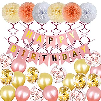 Nakeey Decoración de cumpleaños Oro Rosa, Feliz cumpleaños ...