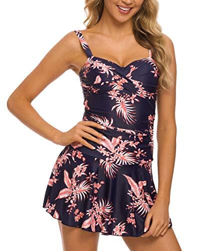 Crossover Tankini - Coskaka Women's Crossover Ruched Swimming Skirt One Piece Swimdress Tummy Control Swimsuit Bathing Suit Swimwear Flower 1-1 XS