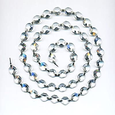 Asfour Clear Crystal Party Decoration Strand with Chrome Clips