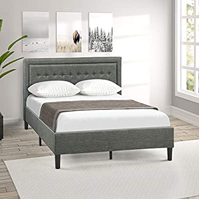 Harper&Bright Designs Upholstered Button Tufted Platform Bed with Strong  Wood Slat Support(Queen, Grey)