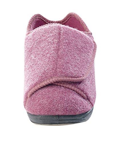 Womens Extra Extra Wide Width Adjustable Slippers - Diabetic & Edema Footwear - Dusty Rose 11