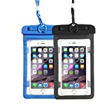 Waterproof Case,[2 Pack] Universal Waterproof Phone Bag Pouch Dry Bag for Iphone X,8/7/7 Plus/6S/6/6S Plus,Samsung Galaxy S9/S9 Plus/S8/S8 Plus/Note 8, Google Pixel 2 HTC Sony up to 6.0'' (Black-Blue)