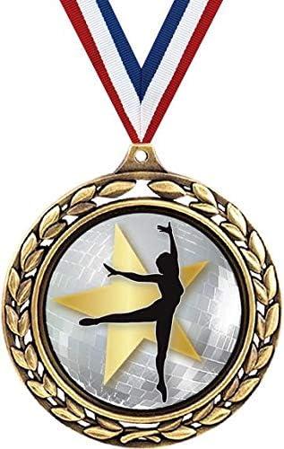 ダンスメダル – 2 1/2インチ 月桂樹リース バレエダンスメダル – 女の子のダンス賞 子供用