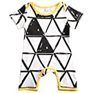 Baby Girls Boys Romper Jumpsuit Playsuit Bodysuit Outfits Clothes, White&Black, 6-12 Months