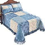 Collections Etc Blair Chenille Patchwork Bedspread, Blue, King