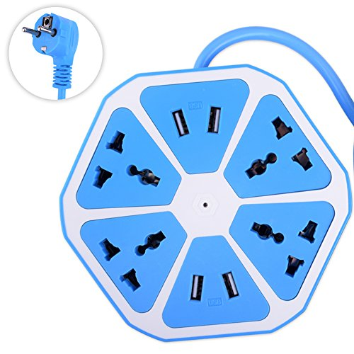 YCDC Sky Blue Multi-Purpose Hexagon PBT Outlet 4 USB+4 Way Switch Socket...