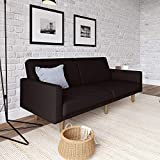 DHP Paxson Convertible Futon Couch Bed with Linen Upholstery and Wood Legs - Black