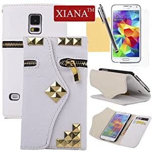 XIANA Zipper with Rivet Premium Wallet Leather Case Cover Protector For Samsung Galaxy S5 I9600(White),A Stylus,Screen Protector and Cleaning Cloth Included