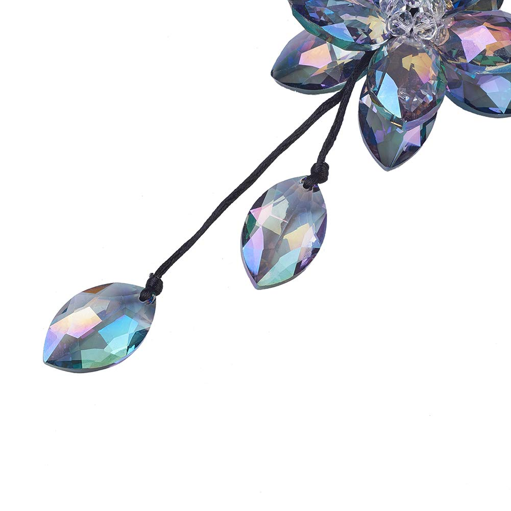Colorful UR URLIFEHALL Crystal Flower Car Hanging Ornament Car Rear View Mirror Pendant Car Accessories Home Decor