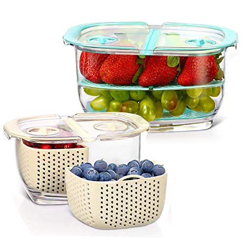 Fresh Fruit Vegetable Storage Container 2-Piece Partitioned Food Storage Container Sets with Vents Lids BPA-Free Veggie Saver Keeper Container for Strawberry berry cherry, 1.9/0.5 Quart