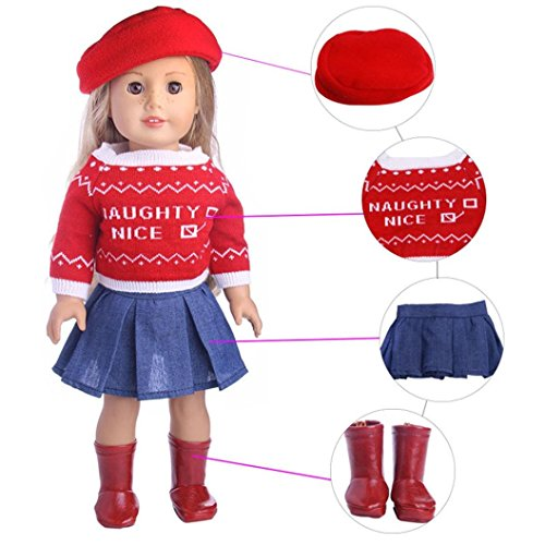 LNGRY Doll Clothes Set for 18 inch Our Generation American Girl Doll Cute Sweater Skirt Hat Outfits (4pc Set) -