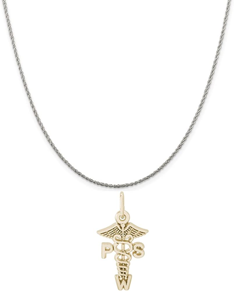 Box or Curb Chain Necklace 18 or 20 inch Rope Rembrandt Charms Two-Tone Sterling Silver Angel Charm on a Sterling Silver 16