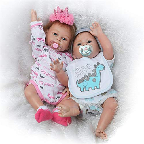 Silicone Full Body Reborn Baby Dolls Twins Boy and Girl 20 inch Anatomically Correct Newborn Size Bebe Look Real Washable Toys for Toddler Doll House 2 PCS (Silicone Baby Dolls Full Body)