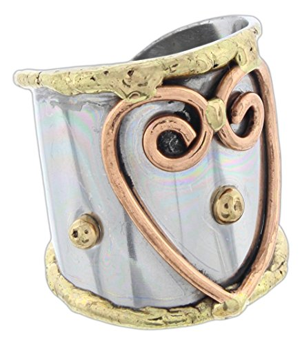 Anju Cuff Ring Welded Mixed Metal Design - Copper, Stainless Steel, Brass (Single ()