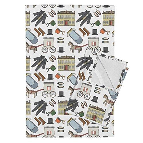 Jane Austen Fabric - Roostery Jane Austen Tea Towels Jane Austen Theme Pattern by Mintparcel Set of 2 Linen Cotton Tea Towels