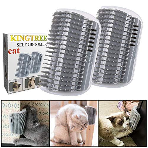 Kingtree Cat Self Groomer, 2 Pack Cats Corner Groomers Soft Wall Corner Massage Combs Grooming Brush Perfect Massager Tool for Long Short Fur Kitten Puppy - Grey
