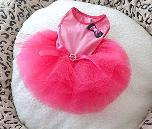 ONOR-Tech Lovely Cute Doggy Apparel Clothes Pet Puppy Dog Cat Bow Tutu Princess Dress Wedding Party Dress (Cat Tutu)