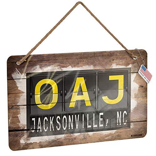 - NEONBLOND Metal Sign OAJ Airport Code for Jacksonville, NC Christmas Wood Print