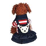 vmree Dog Apparel, Small Pet Dog Cat Puppy Dress Strap Denim Skirt Clothes Apparels