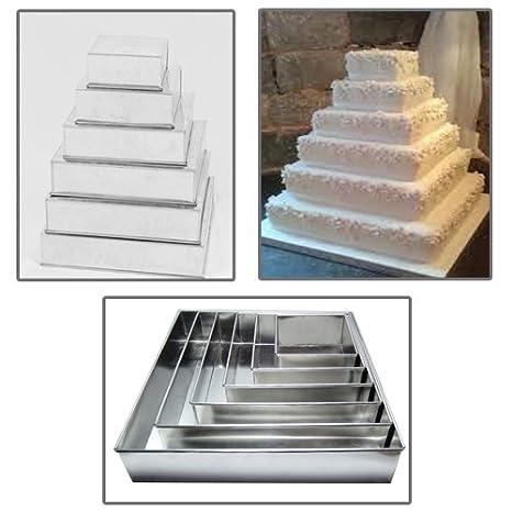 Euro Tins molde Cuadrado para tarta de boda de 6 pisos - juego de 6: Amazon.es: Hogar