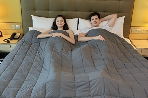 King Size Weighted Blanket by YnM for Couple, Fall Asleep Faster and Sleep Better, Great for Anxiety, ADHD, Autism, OCD, and Sensory Processing Disorder(25lbs, 80''x87'')(Free Gift: A Duvet Cover)