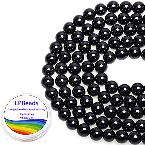 LPBeads 100PCS 8mm Black Onyx Beads Gemstone Round Loose Beads for Jewelry Making with Crystal Stretch Cord