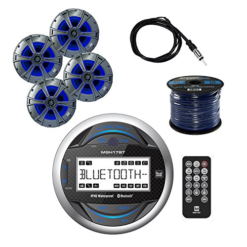 Dual Gauge Hole mount MP3 USB Bluetooth Receiver with Dual 6.5 2way Marine Speakers with Blue illumiNITE Accent Lighting 2-Pairs, Enrock Audio 50' 16G Speaker Wire, Enrock Marine Antenna-Braided Cable