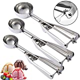 MOTYYA Ice Cream Scoops Set of 3,Stainless Steel Cookie Scooper with Trigger Release, Cookie Dough Metal Cupcake spoons Include Large-Medium-Small Sizes Balls for Meatball, Melon, Muffin