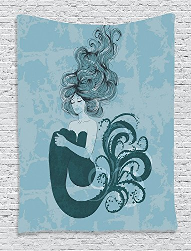 Ambesonne Blue Tapestry Mermaid Decorations, Sleeping Mermaid Design with Hand Drawn Effect, Bedroom Living Kids Girls Boys Room Dorm Accessories Art Wall Hanging, 60 x 80 inches, Dark Teal Blue